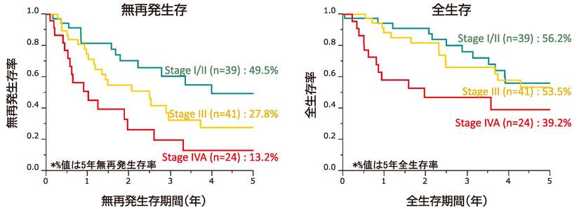 図8:初発肝内胆管癌のStage別予後(n=104)