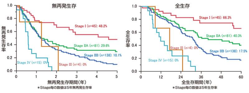 図13:膵癌のStage別予後曲線(n=283)