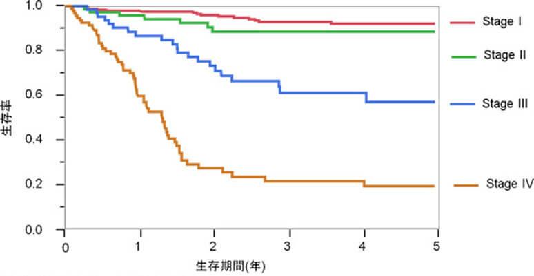 図4.胃癌症例のStage別生存率(2005年~2014年)
